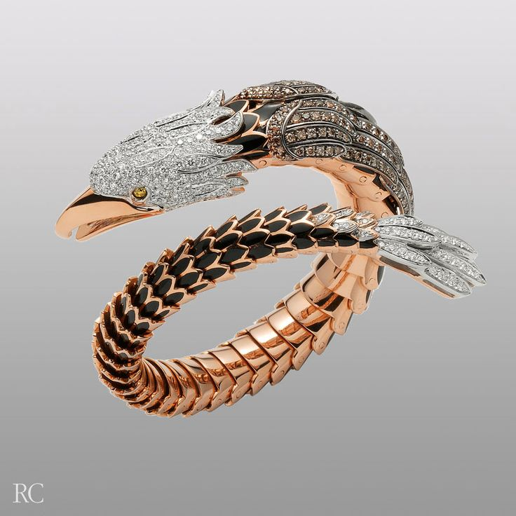 Roberto Coin  - Eagle-Limited Edition bracelet in 18k peach and white gold with enamel and diamonds.