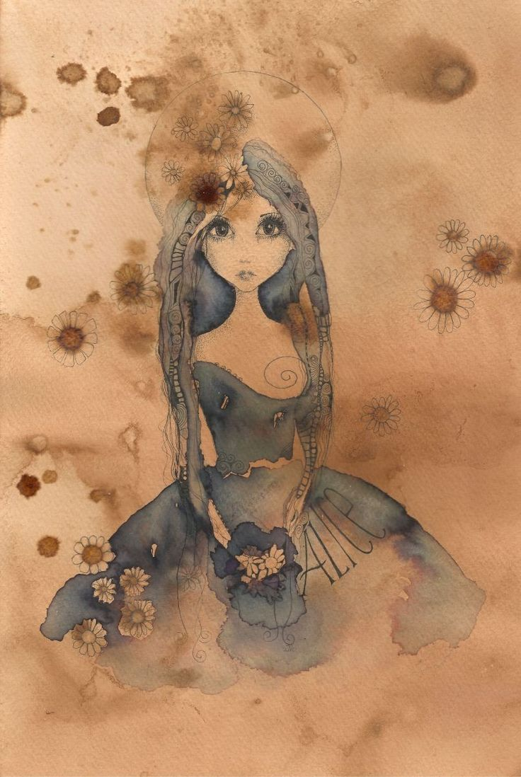 'Alice Used To Be An Angel...' is an original ink drawing on hand stained paper measuring 200mm x 300mm in size ... I stain the paper myself and it gives a beautiful golden tannin look which is a g...