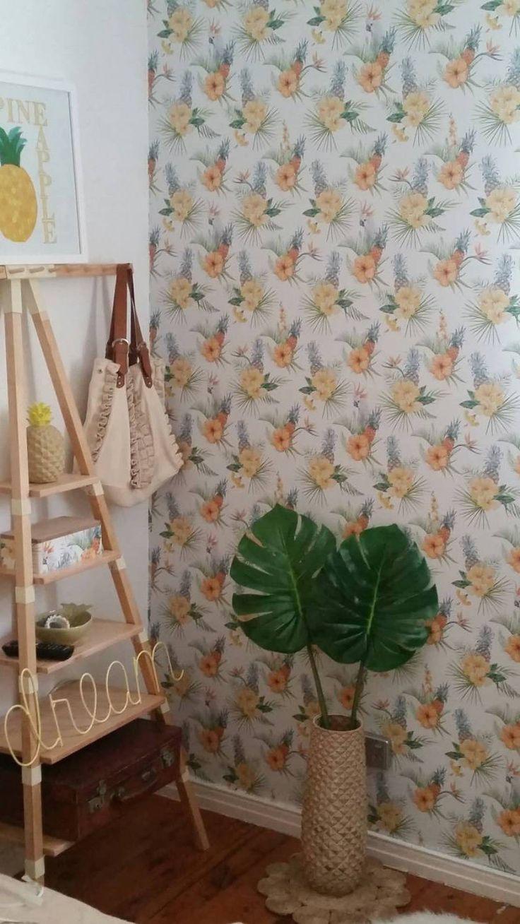 Custom made tropical print removable wallpaper
