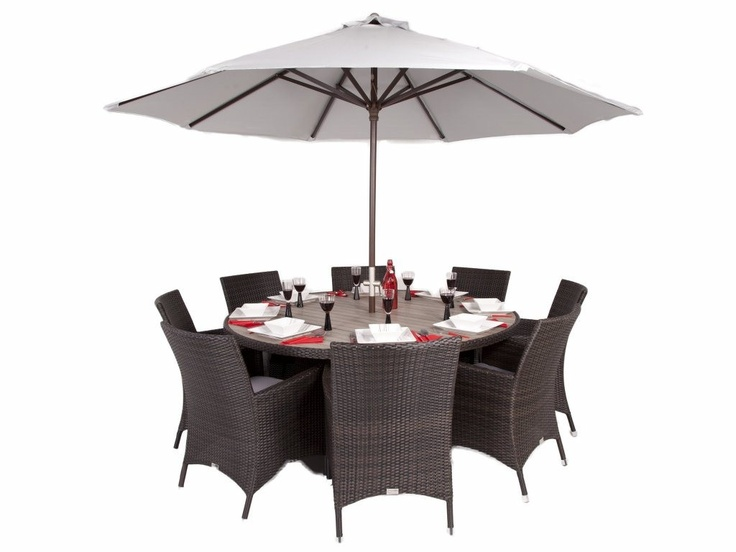 buy brackenstyle olympia round rattan dining set with premium arm chairs seats 8 from our rattan garden furniture range at tesco direct