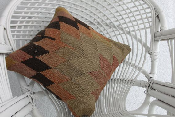 pale color kilim pillow geometric pillow by SARIKAYAKILIMPILLOWS
