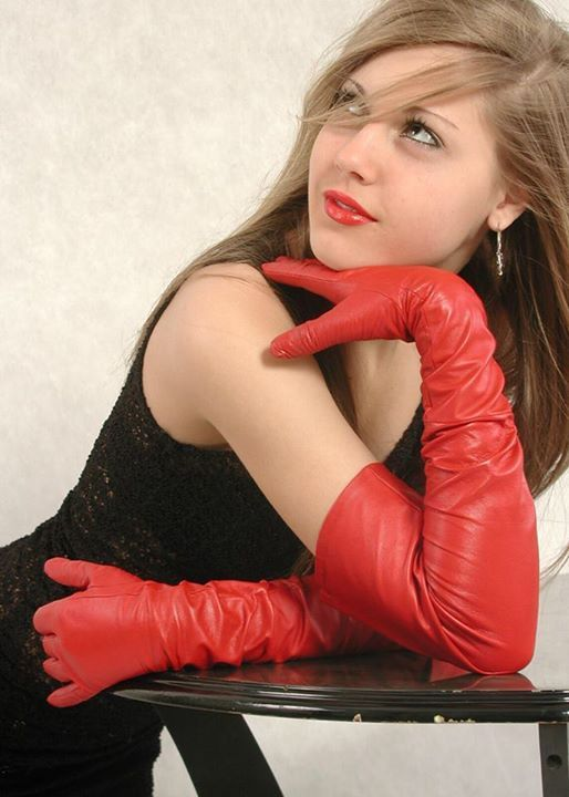 long red leather gloves | genoveva | Pinterest | Leather ...
