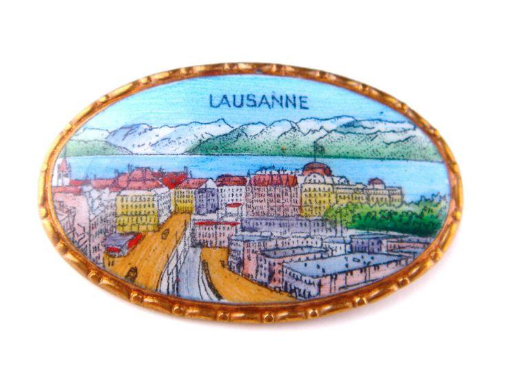 Vintage Antique Enamel Miniature Brooch Pin Gold Tone Lausanne Landscape Swiss #Unbranded