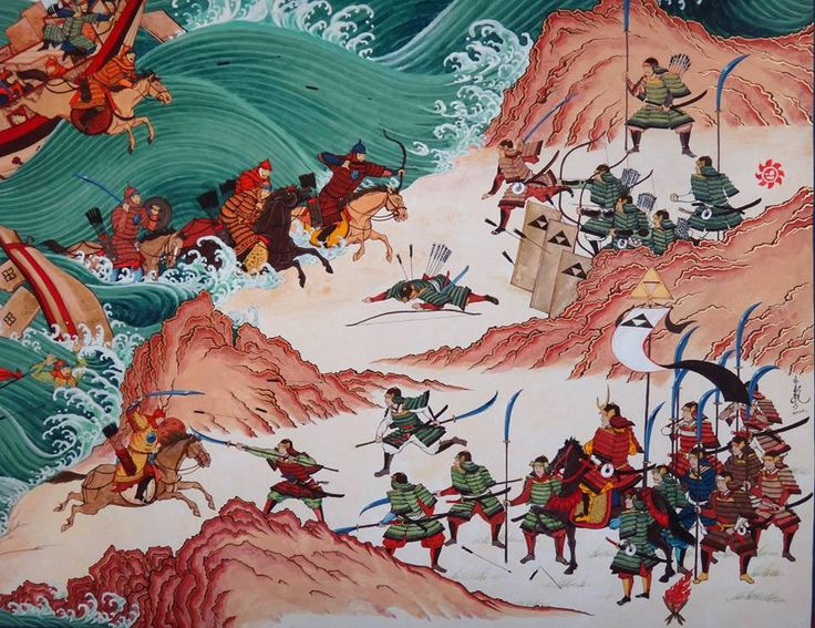 In 1274 and 1281 C.E. Mongols Fail to Conquer Japan. Kubilai Khan's naval expeditions fail to subjugate Japan. The second one involves an armada of 4,500 ships and 150,000 men. It is destroyed by Japanese resistance and a typhoon.