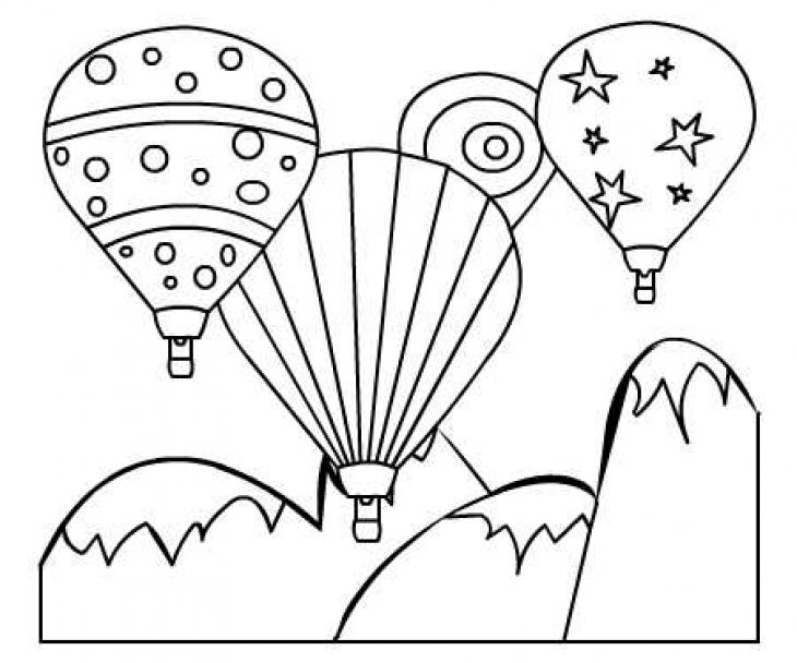 Colorful Hot Air Balloon Printable Coloring Page For Kids
