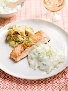 zalm wittekool in dragonsaus en geplette aardappelen| Spar