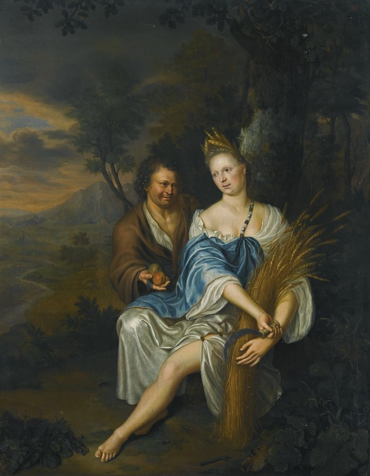 Frans van Mieris the Younger LEIDEN 1689 - 1763 VERTUMNUS AND POMONA oil on panel 53.4 by 41.5 cm.; 21 by 16  3/8  in.: