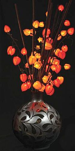 Orange Chinese Lantern With 30 Lights Stems Electric 32 Inch   This Would Be