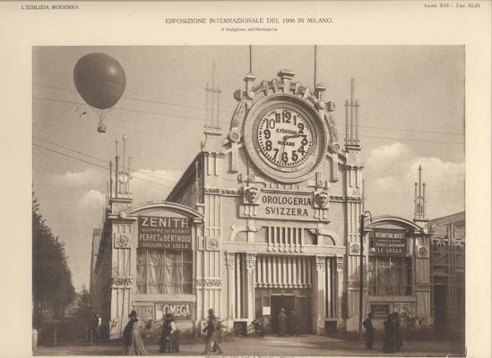 Milano, Expo 1906. Padiglione dell'Orologeria svizzera.