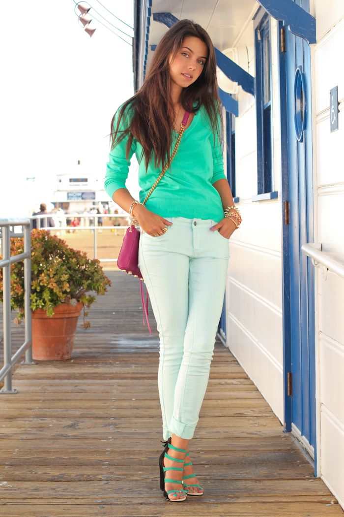 Sea Green Top And Mint Jeans Pink Purse