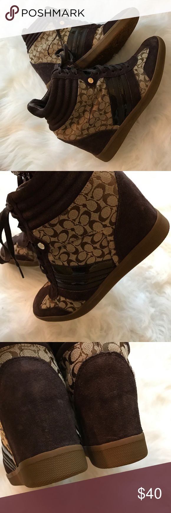 💥💥Love their COACH  cuties 👟💥💥 Coach Alara Signature Jacquard & Suede Hidden Wedge Sneakers, (Khaki/Chestnut) Coach Shoes Sneakers