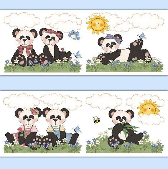 PANDA TEDDY BEAR Nursery Wallpaper Border Decal Wall Art Woodland Animal Stickers Forest Friends Creatures Baby Girl Room Decor Shower Gift #decampstudios