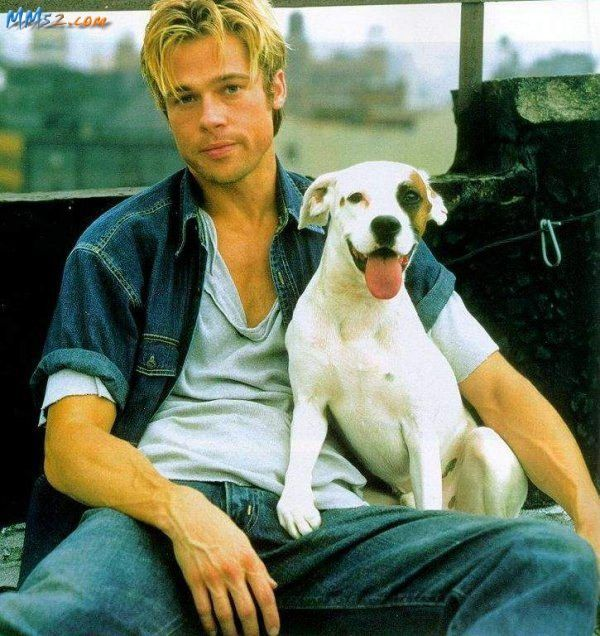 BRAD & HIS DOG .....BOTH WAITING FOR ANGELINA TO GET OUT OF THE SHOE STORE..........ccp
