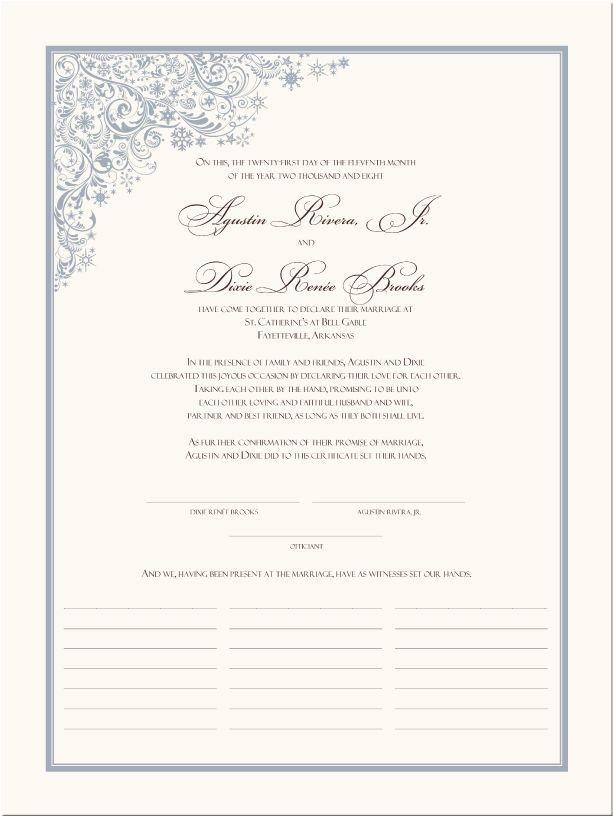 Winter Theme Wedding Certificate-Snowflake Wedding Certificates-Quaker Christmas Marriage Certificate-Holiday Wedding Certificate-Winter Wedding Ideas,Commitment Certificates,Keepsake Marriage Certificate