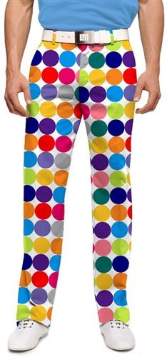 Mens Golfing Pants by Loudmouth Golf - Disco Balls White.  Buy it @ ReadyGolf.com
