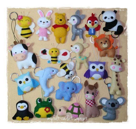 Felt keychain, Craft keychain, Handmade keychain, Keychain with Animals