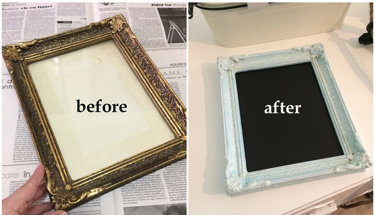 before and after frame diy chalkboard paint distressed