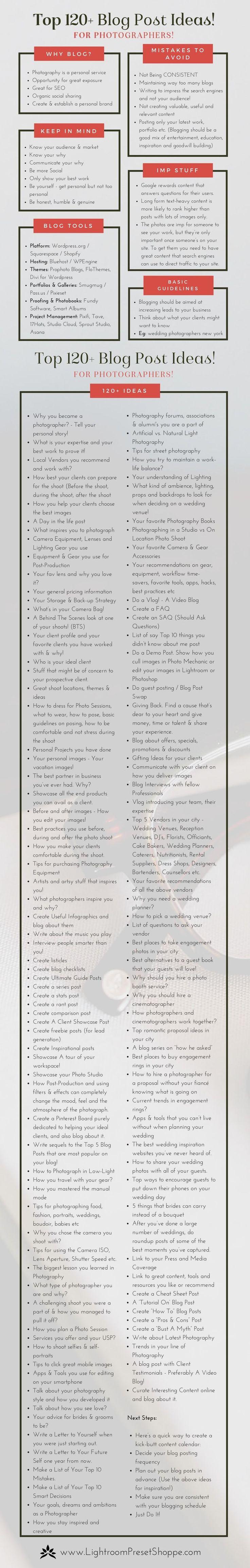 120+ Top Photography Blog Post Ideas | Lightroom Preset Shoppe