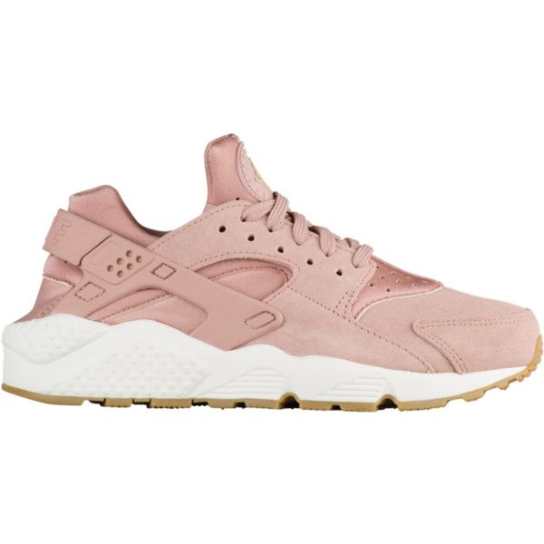 Nike Air Huarache - Women's - Casual Running Sneakers - Casual -... ❤ liked on Polyvore featuring shoes, sneakers, suede trainers, nike, brown colour shoes, pink shoes and suede material shoes