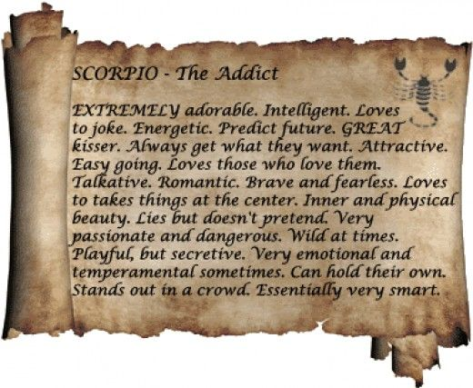 Personality traits scorpio - zodiac , Scorpio (october 24th-november 22nd) is the eighth sign of the zodiac and represented by the scorpion. Description from rachaeledwards.com. I searched for this on bing.com/images
