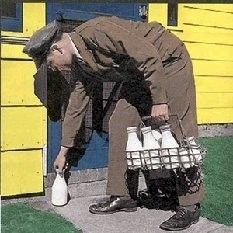 Home milk delivery. He also delivered cottage cheese. After that, we went to powdered milk since it was cheaper.   My milk man would also deliver ice cream, but you had to order a week in advance.