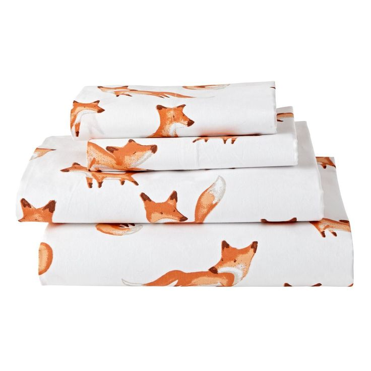Shop Organic Fox Sheet Set.  This sly little fox sheet set has a few tricks up its sleeve.  It's made from 100% organic cotton and features a playful crowd of printed foxes.