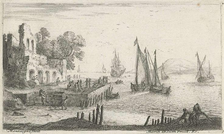 Matthieu van Plattenberg | De aanlegsteiger, Matthieu van Plattenberg, Jean Morin, unknown, 1617 - 1660 | Landschap met een gezicht op een aanlegsteiger. Links een ruïne en rechts schepen op zee.