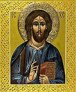 Господь Вседержитель. Икона писаная (Иг) 27х31, цветной фон, нимб и поля - рельеф по левкасу, позолота.