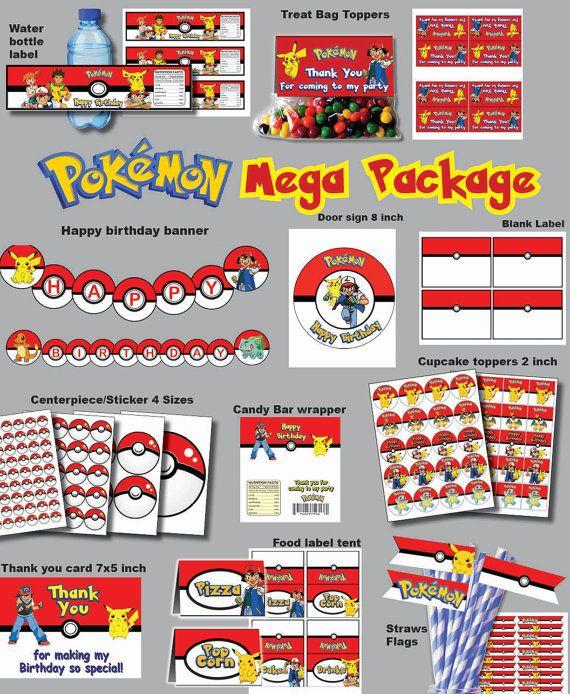 INSTANTÁNEA DL Pokemon vaya cumpleaños party paquete por PishPesh2