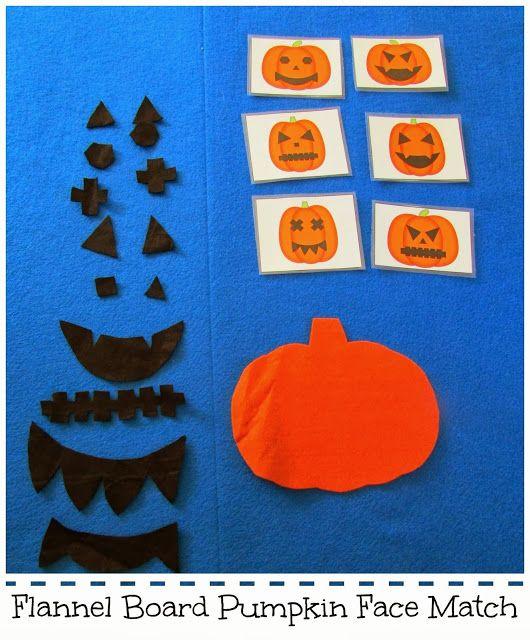 Fun! Flannel Board Pumpkin Face Matching. Perfect for Halloween. {Teach Beside Me}