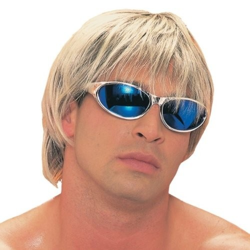 Private Island Party  - Surfer Dude Blonde Wig 6046, $8.70 - $10.99     Totally tubular! This blonde surfer dude wig is sure to turn you from regular bum to beach bum in an instant.    When wearing wigs, don't forget to buy a wig cap.