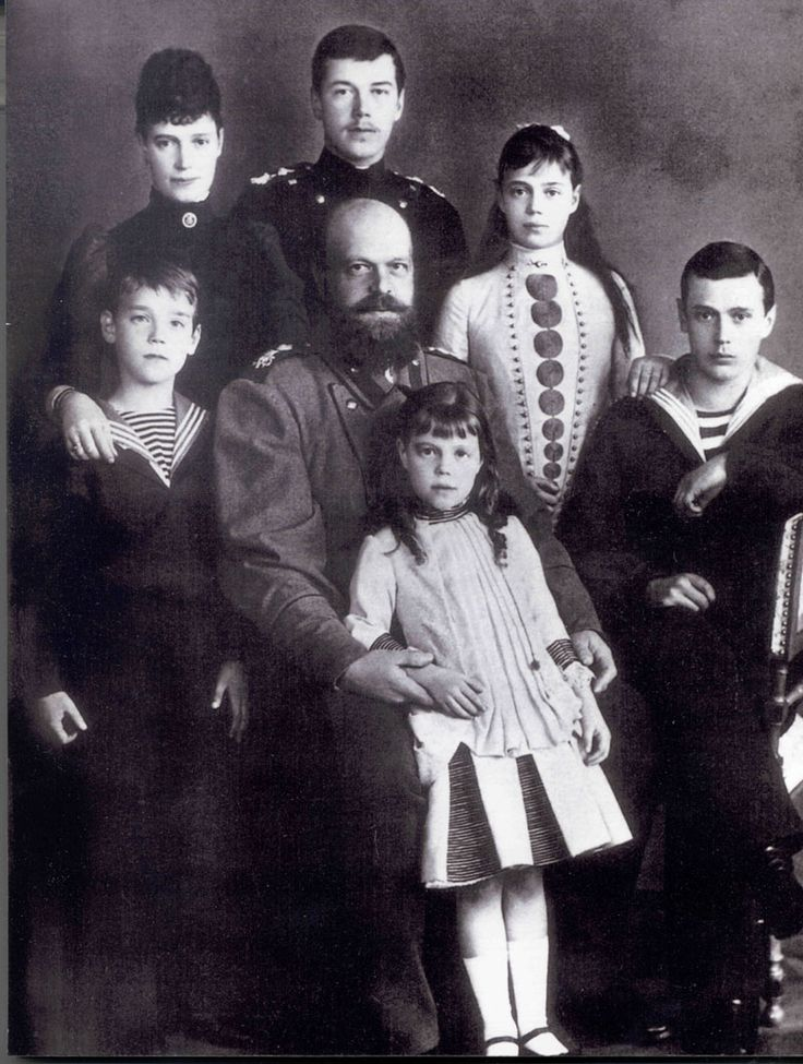1888 - Alexander III with his wife Empress Maria Fyodorovna and their children: Emperor Nicholas II, Grand Duke Alexander Alexandrovich,	Grand Duke George Alexandrovich, Grand Duchess Xenia Alexandrovna, Grand Duke Michael Alexandrovich and Grand Duchess Olga Alexandrovna