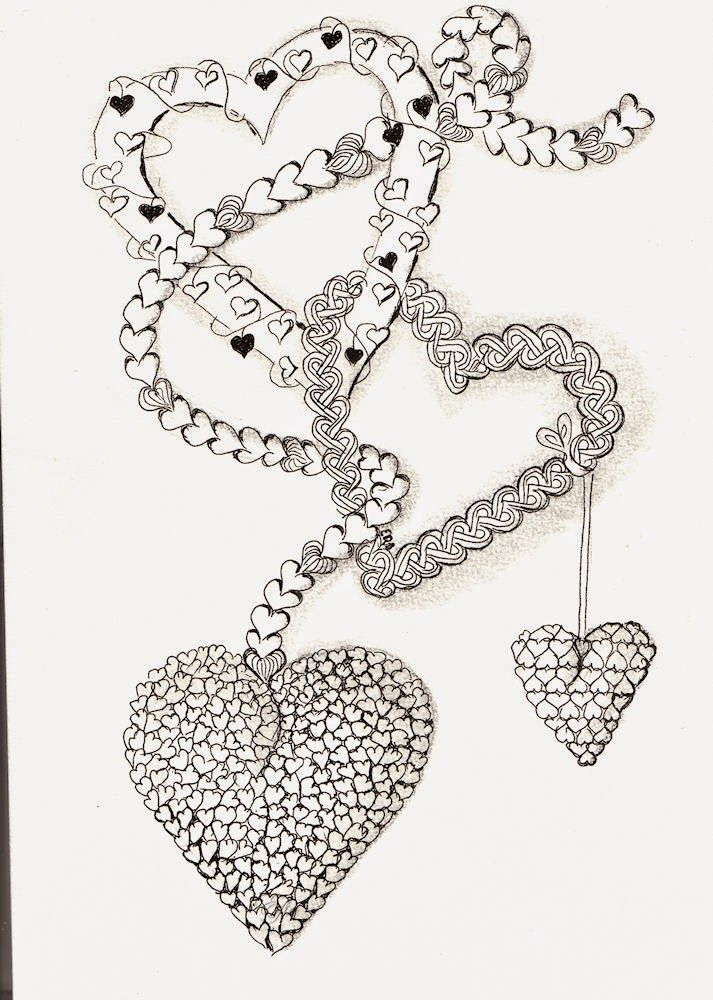 heart zentangle coloring pages - photo#33