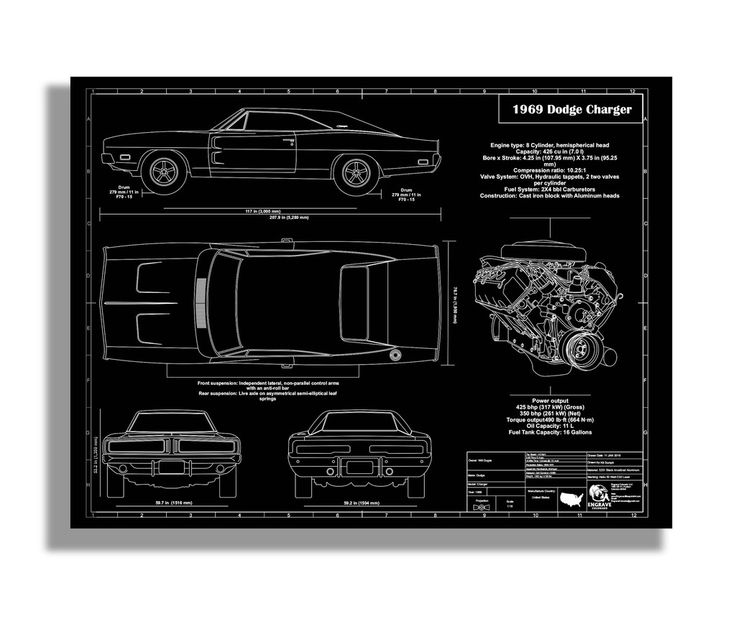 This is a detail intensive blueprint drawing of a 1969 Dodge Charger with technical