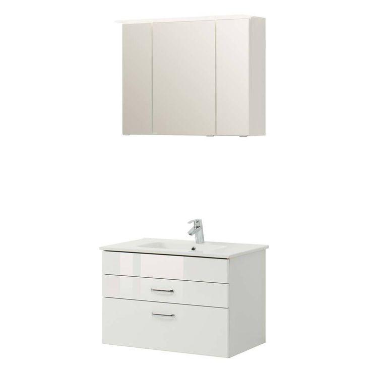 Badezimmer Komplettset In Weiß Hochglanz 3D Spiegelschrank (2 Teilig) Jetzt  Bestellen Unter: