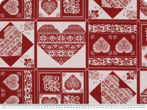 Wysokogatunkowa tkanina dekoracyjna, serca, naturalny-czerwi