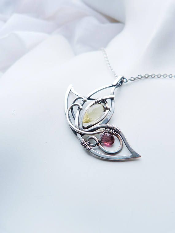 Multi-stone silver Butterfly pendant - Yellow pink necklace - luxury jewelry Romantic gift for her - trendy pendant
