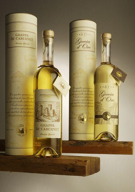 immagine packaging Marcello Maschio Distilleria. Studio grafico specializzato nell'ideazione e creazione di etichette per Spumante Prosecco e vini in genere.