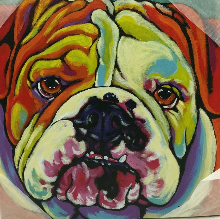 Canvas English Bulldog Painting Dog Canvas Wall Decor