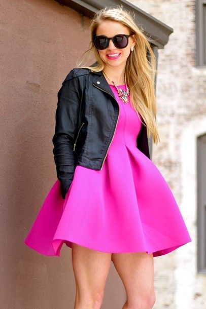 Short hot pink dress