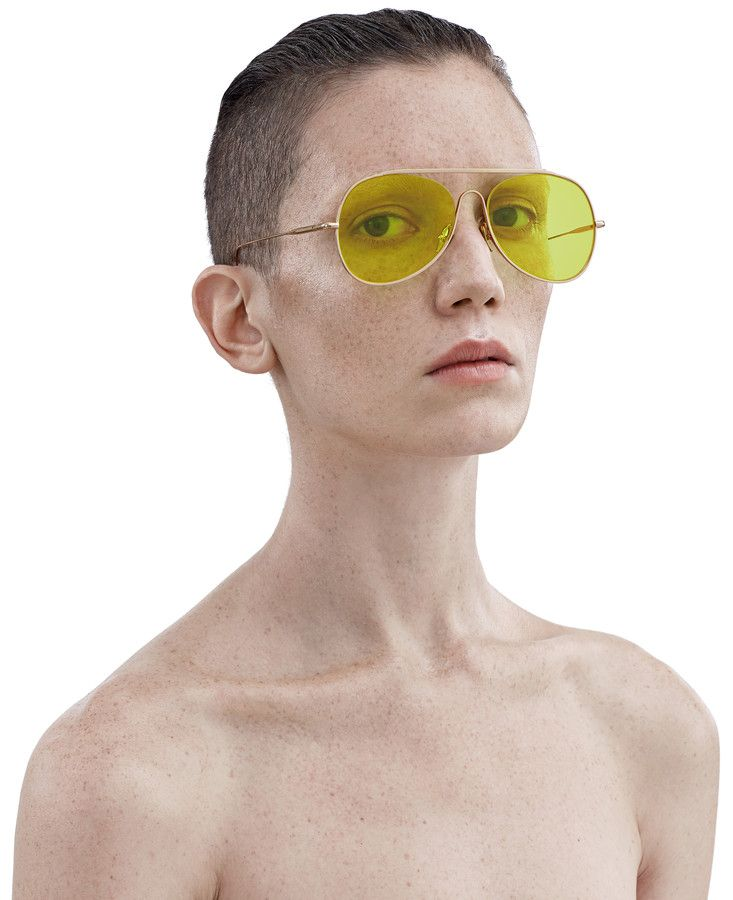 Acne Studios Spitfire Large Gold/Yellow Large aviator sunglasses