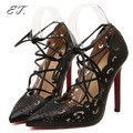 New 2016 Sexy Red Bottom High Heels Shoes For Women Fretwork Ribbons Party shoes.