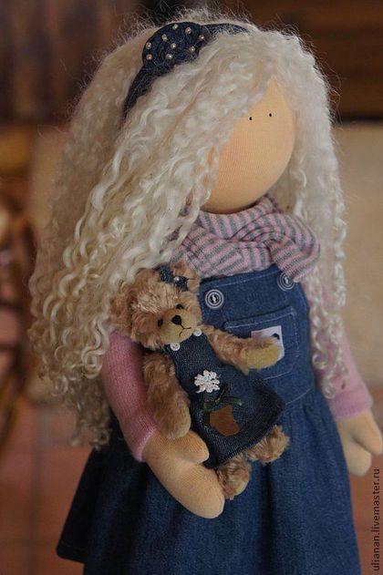 Fabric doll / Человечки ручной работы. Ярмарка Мастеров - ручная работа. Купить Ася.. Handmade. Синий, Кукольный трикотаж