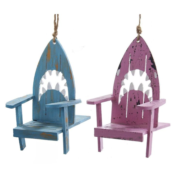 Blue and Pink Shark Heads Beach Chairs Christmas Holiday Ornaments Set of 2