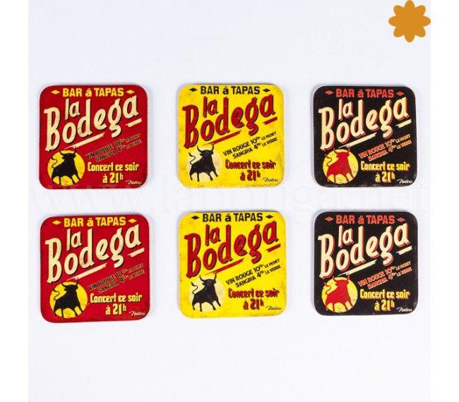 Posa vasos La Bodega #posavasos de corcho #vintage #retro La #Bodega. Divertido juego de posavasos decorados al estilo de #publicidad de los #años50 con los tópicos españoles, #vino, #sangría, #toros, #flamenco