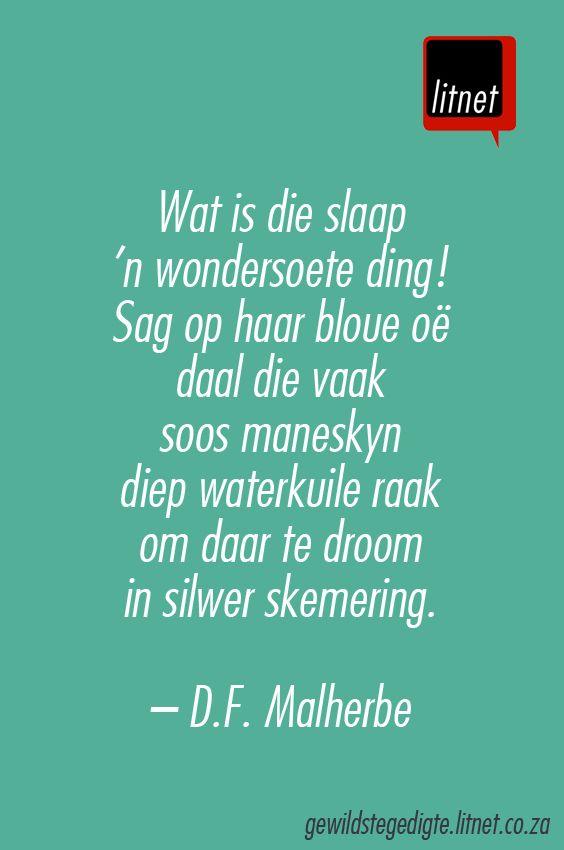 """""""Slaap"""" deur D.F. Malherbe #afrikaans #gedigte #nederlands #segoed #dutch #suidafrika"""