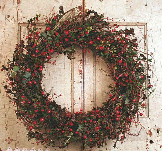 Auburn Red Berry Silk Winter Door Wreath 22 In Auburn