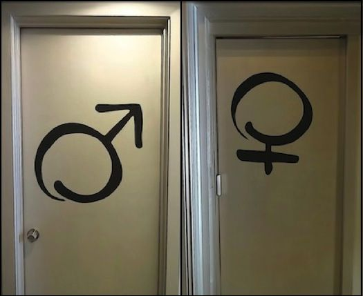 Men and women's bathroom door signs, at willPower FIT STUDIO, are an example of juxtaposing.