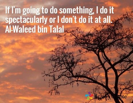If I'm going to do something, I do it spectacularly or I don't do it at all. Al-Waleed bin Talal