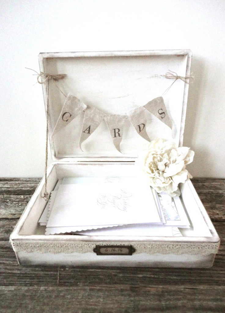 Lace Wedding Card Box with Banner - Cottage Chic - Large - Custom Colors. $64.99, via Etsy.